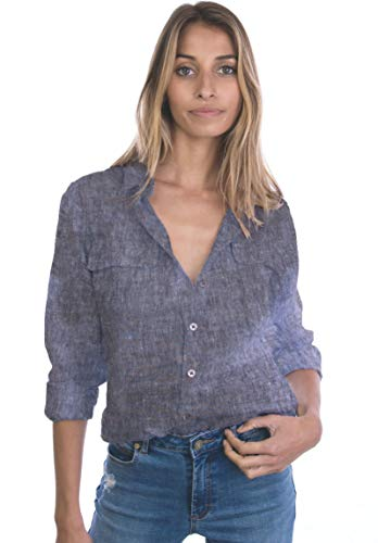 CAMIXA Womens 100% Linen Button Down Shirt Casual Basic Blouse Pockets Loose Top S Mottled Black