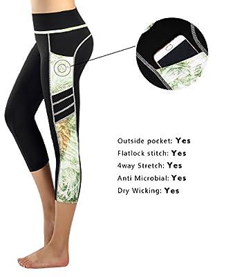 Munvot Women's Capri Yoga Pants Active Workout Pants Running Leggings Side Pocket