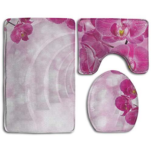 3Piece Set Flower Printed Flannel Bathroom Contour Mat Bath Rug Toilet Lid Cover