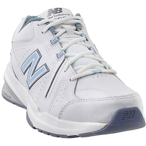 new balance Women's 608v5 Casual Comfort Cross Trainer, White/Light Blue, 8.5 D US