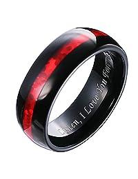 Hosty Bten Men 8mm Ceramic Black with Red Carbon Fiber Inlay Tungsten Wedding Band Ring