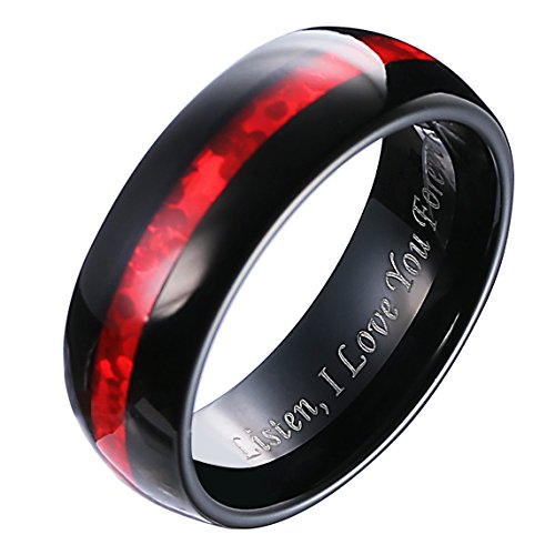 Hosty Bten 8mm Black Tungsten Carbide Red Carbon Fiber Ring Wedding Engagement Anniversary Band for Men (Black, (Red Wedding Ring)
