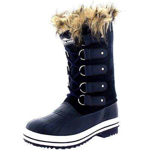 Mujer Manguito De Piel Cordones Caucho Invierno Lluvia Zapato Botas Marina Suede