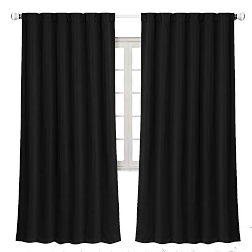 Blackout Curtains Room Darkening and Thermal Insulating Window Curtains with Back Loops- Lined Silky & Soft Performance (2 Panels, 52x84 Inch, Black)