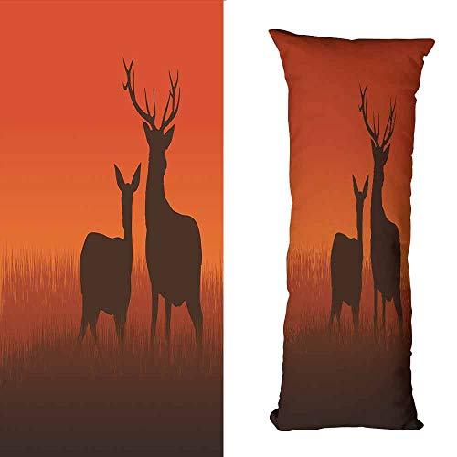 (DuckBaby Personalized Pillowcase Hunting Decor Silhouette Illustration of a Deer and Doe on Meadow Autumn Season Skyline Without core W23.5 xL67 Multicolor)