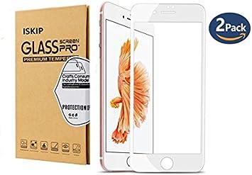 [Paquete de 2] ISKIP Protector de pantalla para iPhone 7 Plus 8 Plus, 0.2 mm Ultra claro 3D Curva de cobertura total Soft Edge Película anti-roturas para iPhone 7 Plus iPhone 8 Plus 5.5 '' (Blanco)