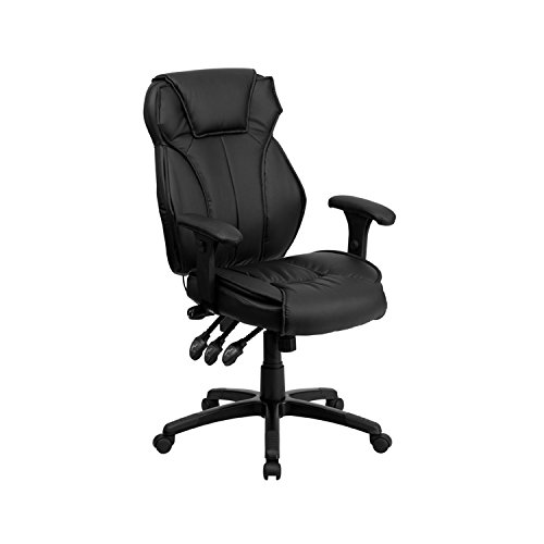 Offex OFX-90267-FF High Back Black Leather Executive Office Chair with Triple Paddle Control