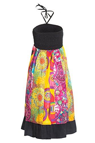 Jupe maxi ou robe en patchwork multicolore avec ceinture lastique, env. 100 cm de longueur - plusieurs designs diffrents Noir 3