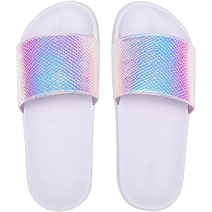 Veittes Kid's Girl Boy Pool Slide Sandals, Slip On Bling Bath Shower Beach Sliders for Younger Older Children.