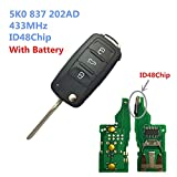 Dudely 3 Buttons Flip Folding Remote Key Fob 433MHz ID48 Chip For VW 5K0837202AD (Include electronic,chip)