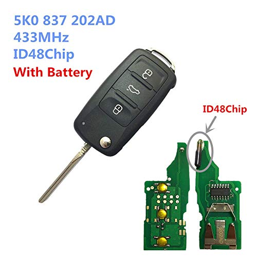 Dudely 3 Buttons Flip Folding Remote Key Fob 433MHz ID48 Chip For VW 5K0837202AD (Include electronic,chip) ()