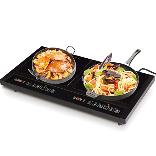 (COSTWAY 1800W Double Induction Cooktop Portable Electric Dual Hot Plate Countertop Burner w/Digital Display)