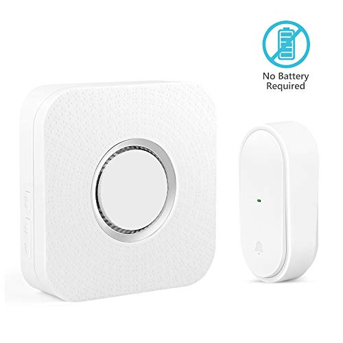 Self-Powered Wireless Doorbell,BITIWEND No Battery Required Doorbell Operating at 450ft with 52 Chimes, 4 Level Volume, LED Indicator Wireless Door Chime (1 Push Button+1 Receiver)