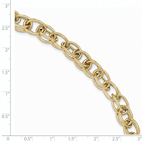 ICE CARATS 14k Yellow Gold Textured Link Bracelet 8 Inch Fine Jewelry Gift Set For Women Heart by ICE CARATS (Image #2)