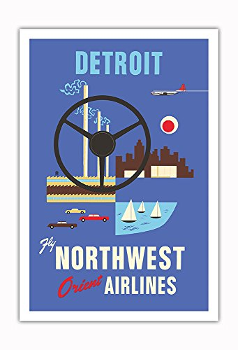 (Pacifica Island Art - Detroit, Michigan - Motown, Motor City - Fly Northwest Orient Airlines - Vintage Airline Travel Poster c.1950s - Fine Art Print - 30in x 44in )
