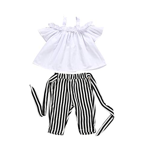 Baby Girls Summer Off Shoulder Solid Color T-Shirt Tops + Stripe Long Pants with Belt Outfits Clothes Set (100/4T, White and Black)