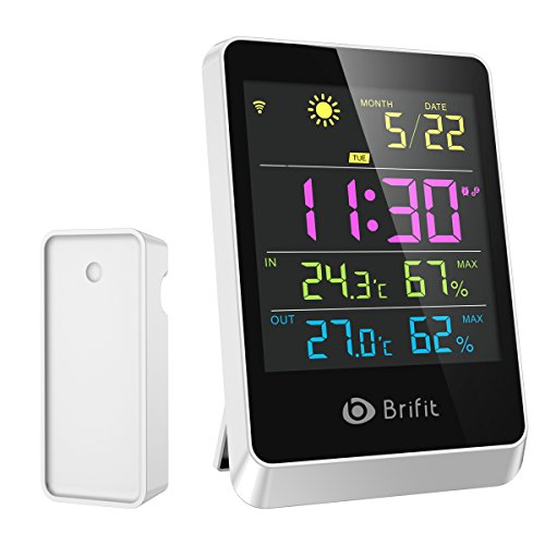 Brifit Wireless Hygrometer Indoor Outdoor Thermometer Humidity Monitor, Weather Station, Large Display Digital Tabletop, Weather Forecast, Alarm Clock & Snooze Function for Home, Bedroom
