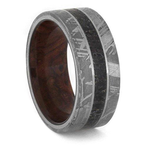 Gibeon Meteorite, Dinosaur Bone, Honduran Rosewood Burl 10mm Comfort-Fit Titanium Band, Size 4 by The Men's Jewelry Store (Unisex Jewelry)