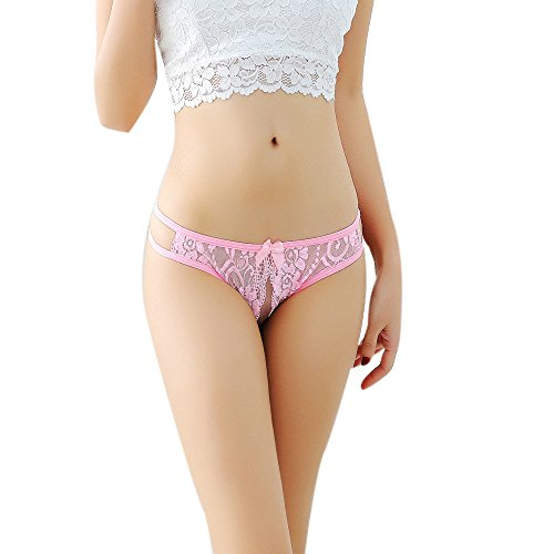Detail Underwire (WELCOMEUNI Sexy Briefs Lace Openwork Temptation Women Ladies Panties Underwear Thong Bragas Thong Lace Word Pants (Pink))