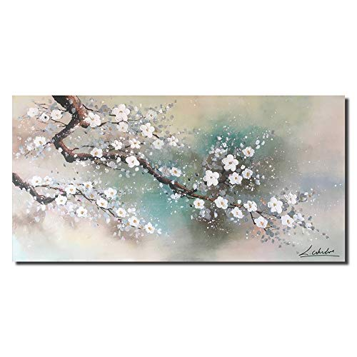 Floral Wall Art for Living Room Hand Painted Plum Tree Blossom Elegant Flowers HLJ Abstract Canvas Artwork Hang for Home Decor Stretched and Framed (MA18, 48x24in)