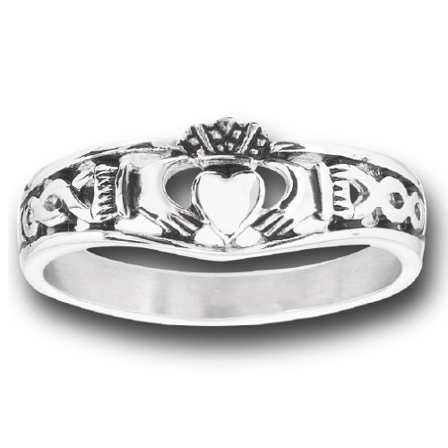 Doublebeez Jewelry 316L Stainless Steel Claddagh Celtic Thin Band Ring, Size 6