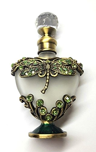 Heart Frosted Glass - Antiqued Brass Green Crystal Dragonfly Heart Frosted Glass Perfume Bottle
