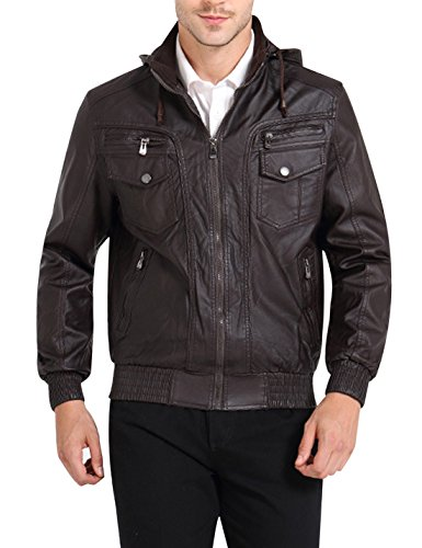 Tanmming Men's Faux Leather Moto Jacket with Removable Hood
