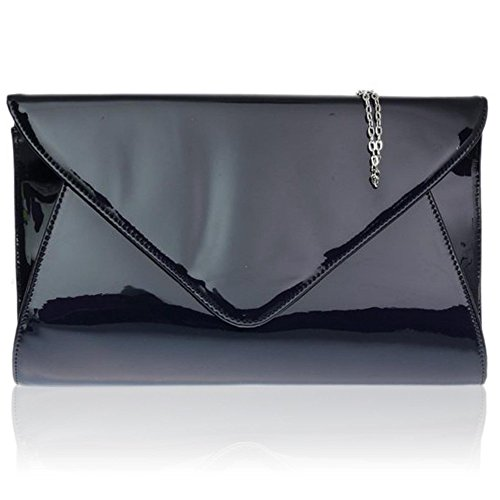 Zarla Lady Patent Clutch Bags Wedding Party - On Womens Uk Night Blue - Navy