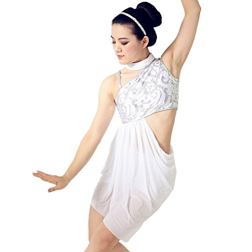 MiDee Sequined Diagonal-neck High-low Dress Dance Costumes With Neckwear (LA, White) (Dance Costumes Performance Wear)