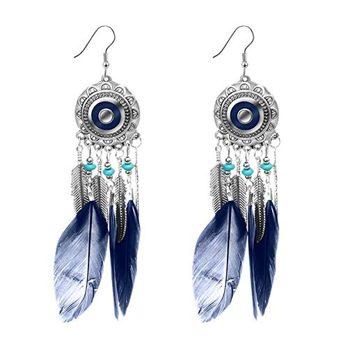 Bohemia Women Round Feather Dangle Hook Drop Earrings Jewelry (F1125-BLU) Suitable for Multiple Occasions