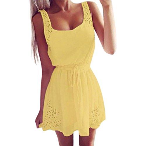 Silk Peasant Dress - TOTOD Women Yellow Dress Sexy Summer Women Casual Dresses Sleeveless Cocktail Short Mini Dress