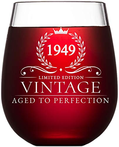 70th Birthday Gifts for Women and Men Turning 70 Years Old - 15 oz. Vintage 1949 Wine Glass - Funny Seventieth Gift Ideas, Party Decorations and Supplies for Him or Her, Husband, Wife, Mom, Dad -