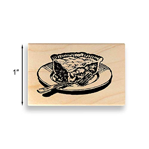 Slice of Pie Rubber Stamp - Small - 1 inch (25mm) Tall. - Select from Several Sizes - Some can be Customized with Text (Pie Rubber Stamp)