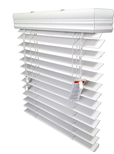 US Window And Floor 2″ Faux Wood Blind for a Door, 24″ W X 72″ H, White