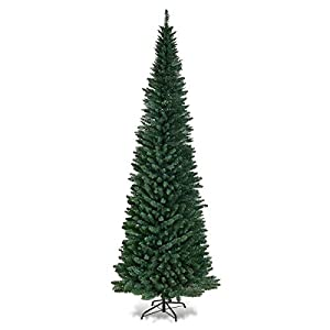 Goplus PVC Artificial Pencil Christmas Tree Slim Tree w/Metal Stand Indoor Outdoor, Green 93