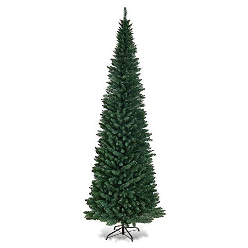 Goplus 9FT PVC Artificial Pencil Christmas Tree Slim Tree w/Metal Stand for Indoor and Outdoor, Green 9' Slim Christmas Tree