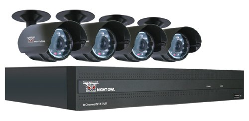 Night Owl Security STA-84  Night Owl Security 8 Channel STA DVR with 4 Night Vision Cameras 500 GB HD and Smartphone Viewing, 30-Feet