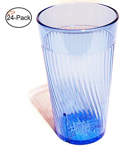 Tiger Chef 8 ounce Blue Glass Like Break-Resistant Plastic Tumbler Set, Exclusive Starburst Design Stackable Restaurant Beverage Cup (24-Pack) - Exclusive Tiger