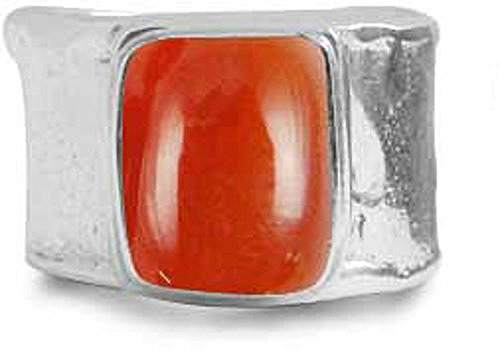 BillyTheTree Gemstone Jewelry Sterling Silver Ring with Cushion Carnelian Stone (BTS-NRB6141/CAR/R) - Size 7.75
