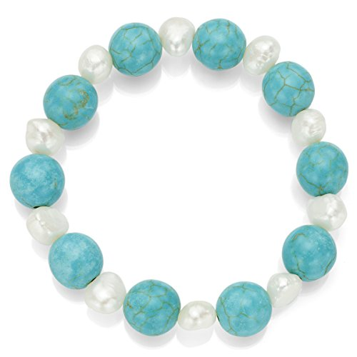 La Regis Jewelry 12mm Simulated Turquoise Howlite and 8-8.5mm White Freshwater Cultured Pearl Stretch Bracelet, - White Bracelet Pearl Turquoise