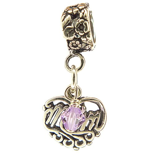 - Mom Filigree Heart Alexandrite Crystal June Birthstone Sterling Silver Dangle Family Charm