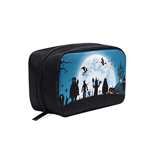 Full Moon On Night With Many Ghost Portable Travel Makeup Cosmetic Bags Organizer Multifunction Case Small Toiletry Bags For Women And Men Brushes Case]()