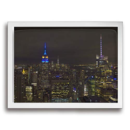 CENSIHER 12x16 Inch Empire State Building in EU Colours Canvas Print Framed Wall Art Painting for Home Decor Picture Giclee Artwork Decorations Ready to Hang ()