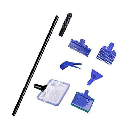 Saim Aquarium Cleaning Net Gravel Rake Algae Scraper Fork Sponge Set Multi-Tool 5 in 1