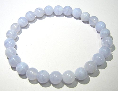 - CRYSTALMIRACLE Beautiful Blue LACE Agate Gemstone Beaded Round Power Bracelet Fashion Jewelry Men Women Gift Energy Wicca Crystal Healing Throat Chakra Health Wealth Handcrafted Accessory Success