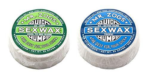 SexWax Quick Humps Mr Zogs Surfboard Wax/Warm Twin Pack - Green + Blue