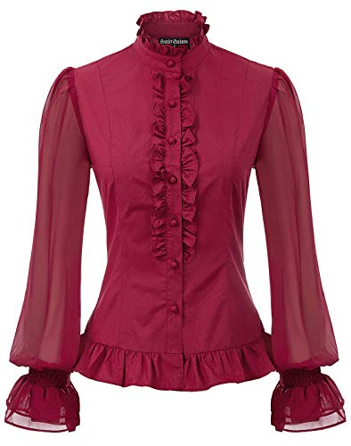 Womens Ruffle Shirts Victorian Blouse Gothic Costume Pleated Vintage Top Wine M