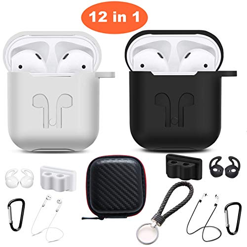 Airpods Case, Airpods Accessories Kits, 12 in 1 Protective Silicone Cover Skin Apple Airpods Anti-Lost Airpods Strap, Airpods Watch Band Holder, Airpods Ear Hook (Black and White)