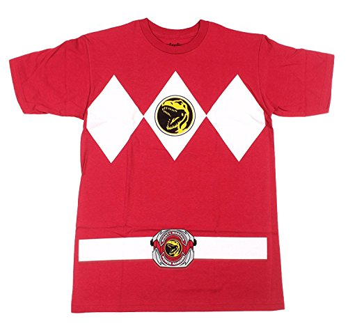 Power Rangers Mens Costumes (Power Rangers Red Ranger Costume Red Adult T-Shirt Tee, Xlarge)