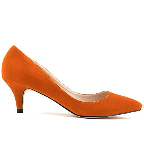 Kunsto Women's Faux Velvet Cone Heels Pumps Classic Court Shoes Pointed Toe Slip Ons Orange FnZFG2cr